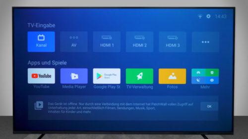Xiaomi Mi TV 4S con el interfaz Patchwall