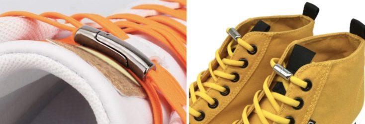 Dos modelos de cordones con cierre magnético en distintos zapatos