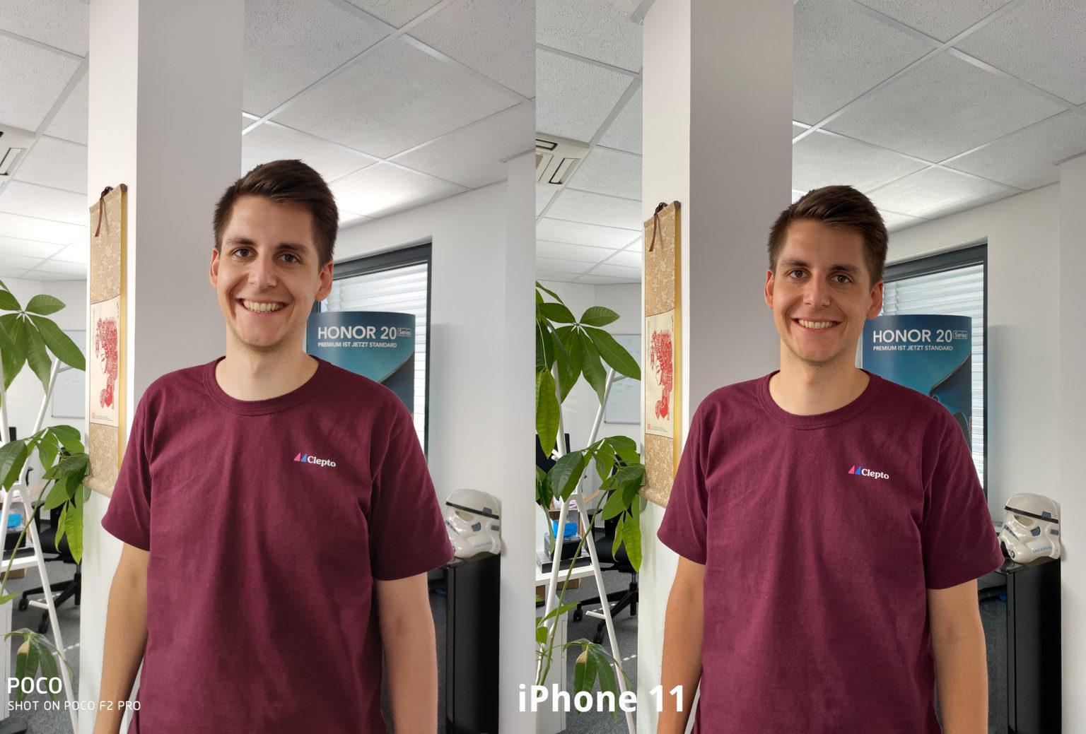 Foto de prueba de una persona con la cámara principal del Pocophone F2 y del Iphone 11