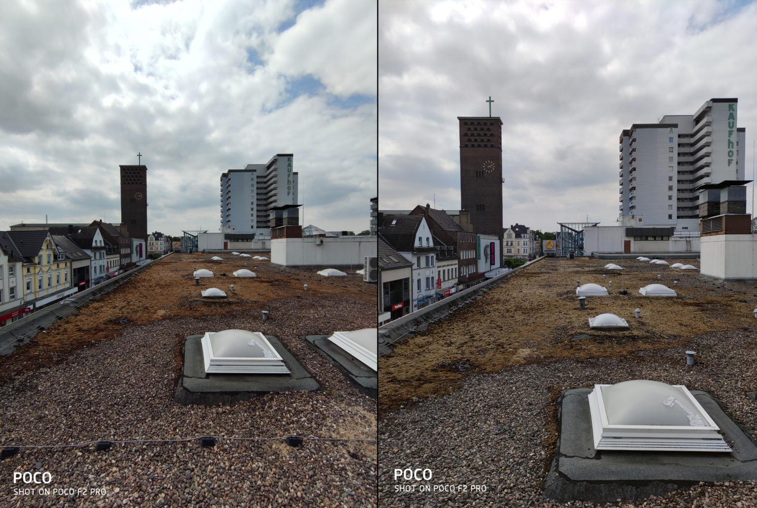 Foto de prueba de edificios con el modo normal y el ultra angular de la cámara principal del Pocophone F2 Pro