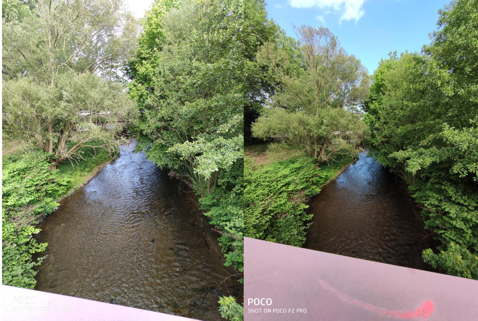 Foto de prueba de el río con el modo normal y ultra gran angular de la cámara principal del Pocophone F2 Pro