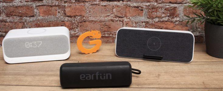 altavoz bluetooth Xiaomi con carga inalámbrica Qi, anker Soundcore Wakey y Earfun Go
