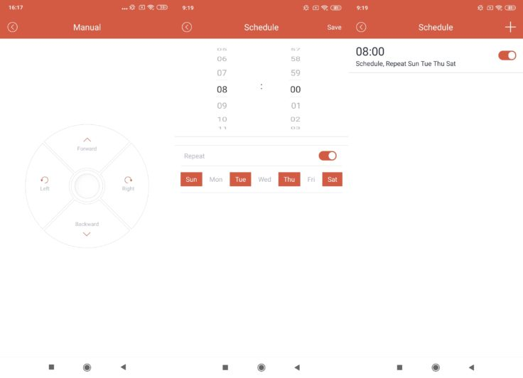 Captura de pantalla del control remoto y la programacíon de horarios del robot aspirador Haier TAB Tabot en la App