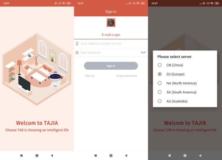 Captura de pantalla del registro en la App del robot aspirador Haier TAB Tabot