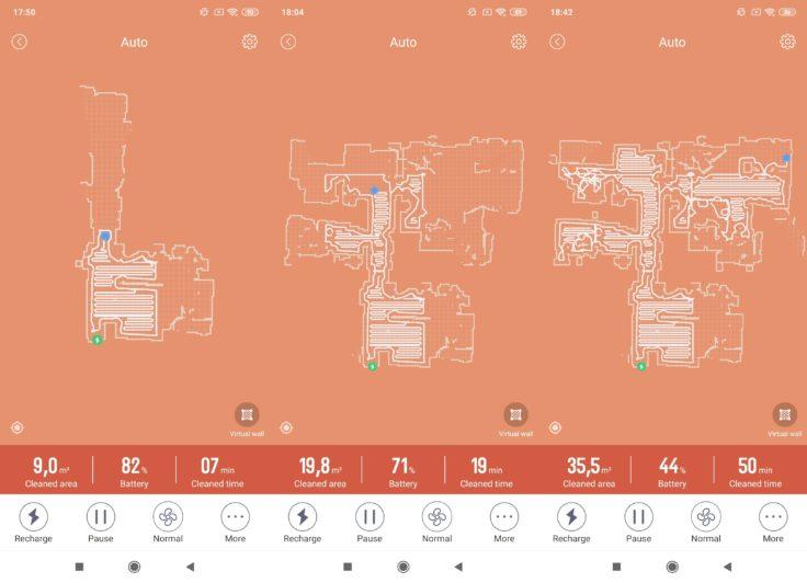Captura de pantalla de los mapas y el trabajo realizado del robot aspirador Haier TAB Tabot en la App