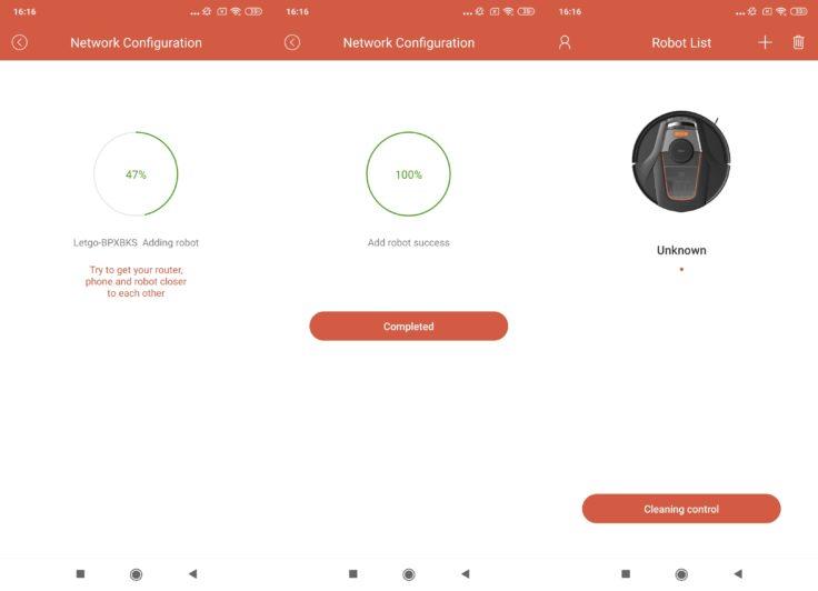 Captura de pantalla de la vinculación del robot aspirador Haier TAB Tabot en la App