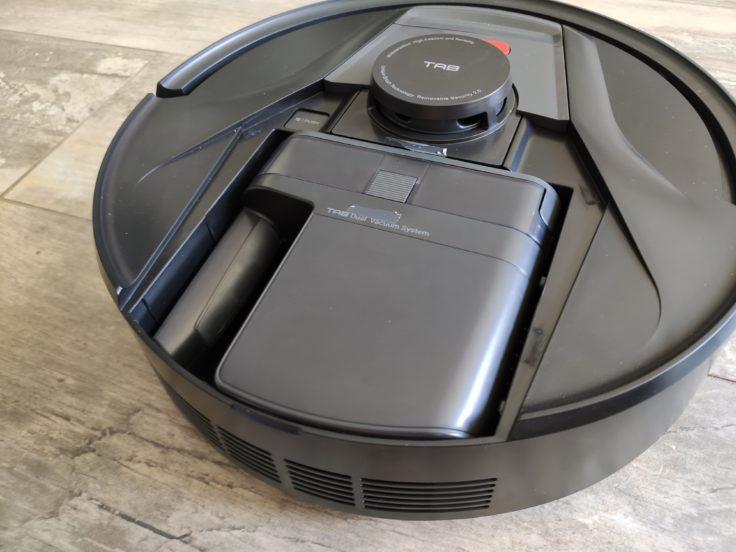 Depósito de polvo dentro del Robot aspirador Haier Tab Tabot