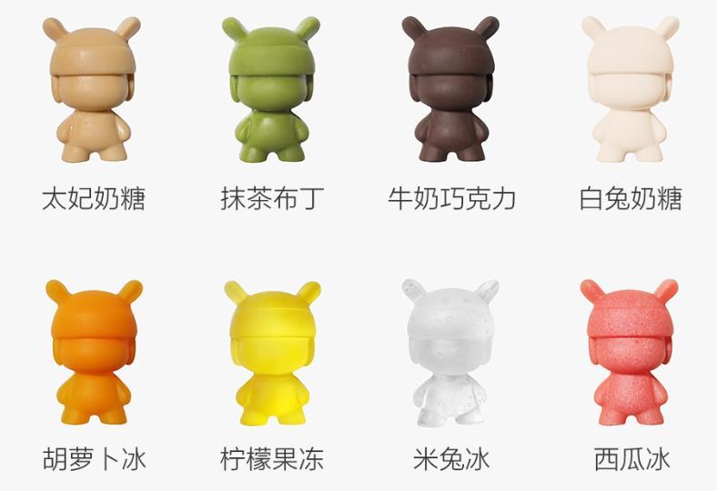 Distintas figuras hechas con el molde para hielo con forma de Xiaomi Mi Rabbit
