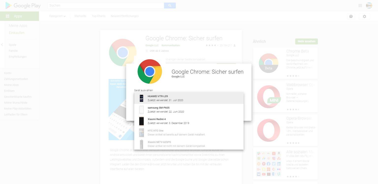 Google Chrome en la Play Store del Xiaomi Mi TV Stick