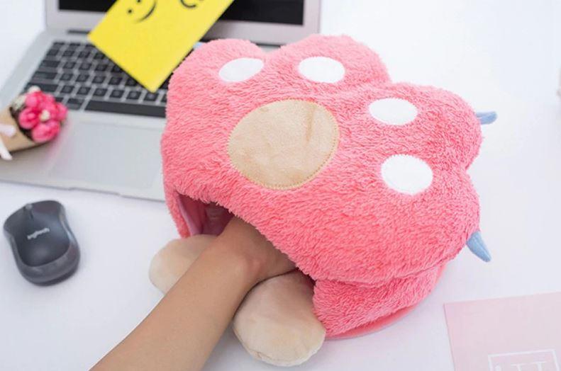 Alfombrilla de raton térmica con forma de pezuña rosa