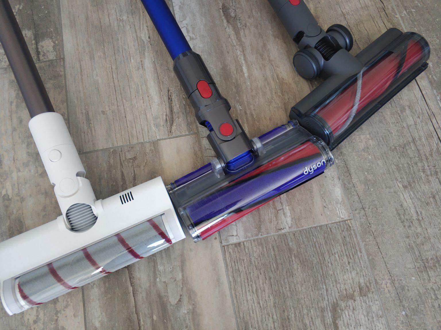 Comparación de los rodillos de las aspiradoras inalámbricas Roborock H6, Dyson V11 Absolute y Dreame XR