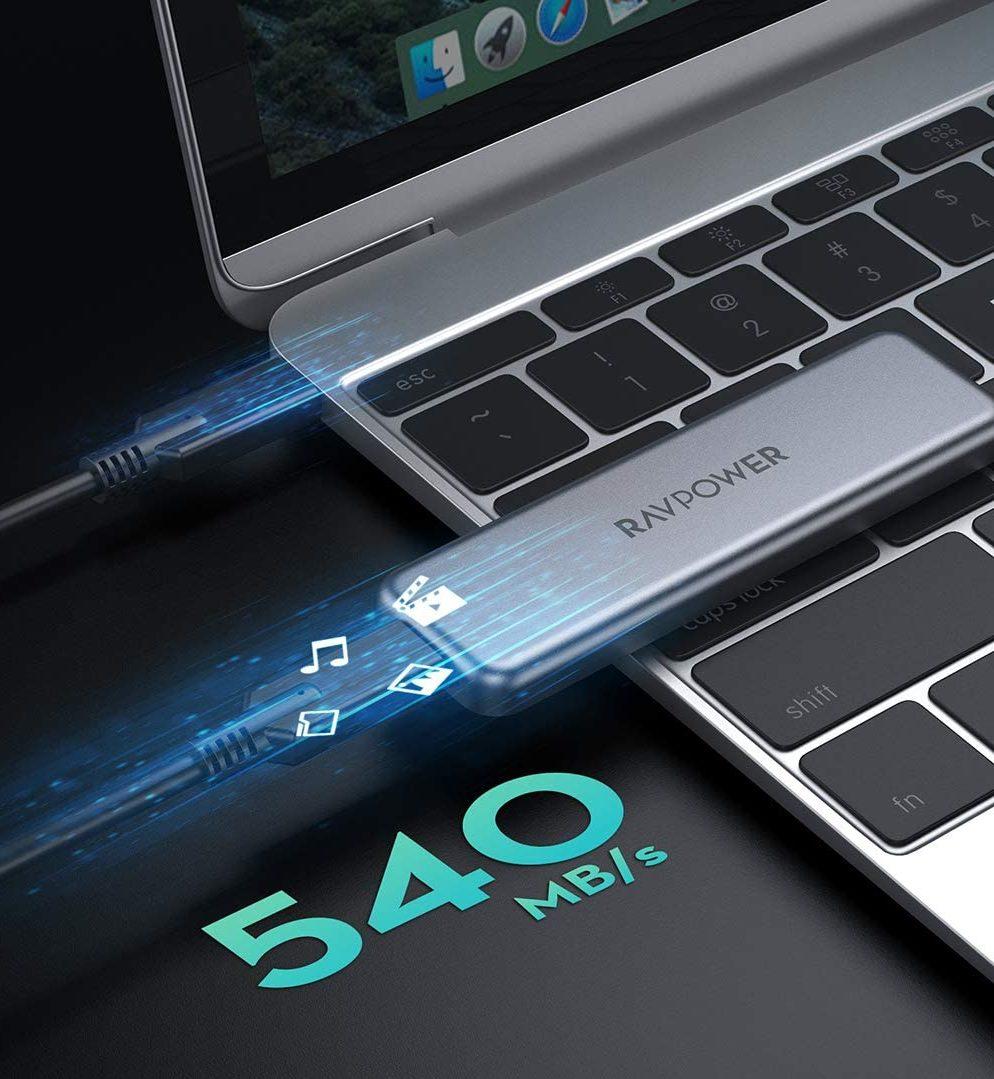 Transferencia de datos con el disco duro externo mini SSD RAVPower