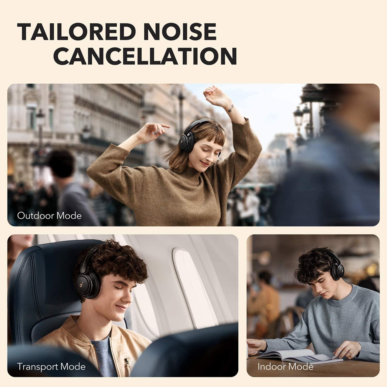 Diferentes modos ANC de los auriculares bluetooth over-ear Soundcore Life Q30