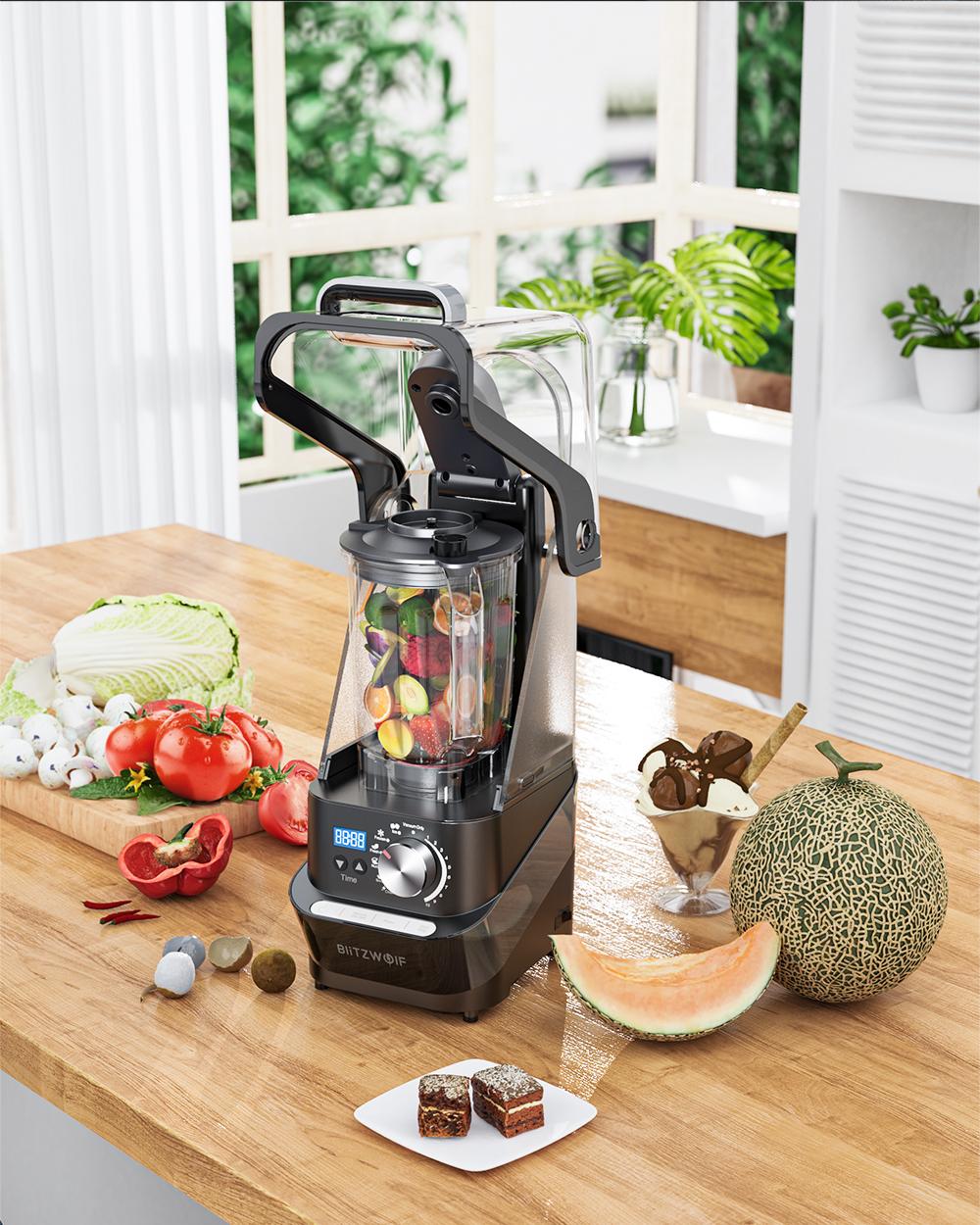 Batidora de vaso BlitzWolf BW-CB2 con frutas y verduras