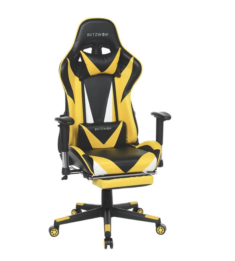 Silla gaming BlitzWolf BW-GC2 en amarillo y negro