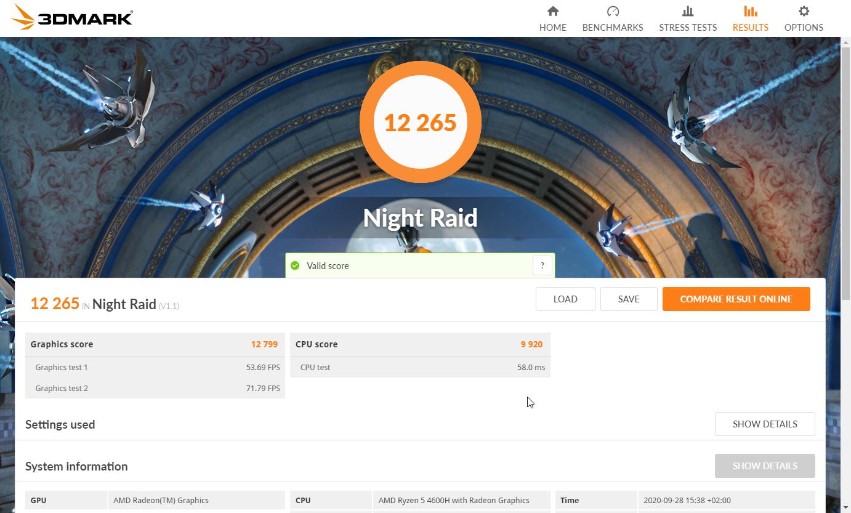 Resultados del benchmark 3DMark Night Raid del Honor MagicBook Pro