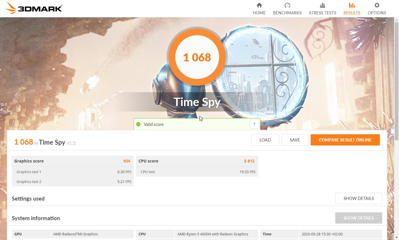 Resultados del benchmark 3DMark Time Spy del Honor MagicBook Pro
