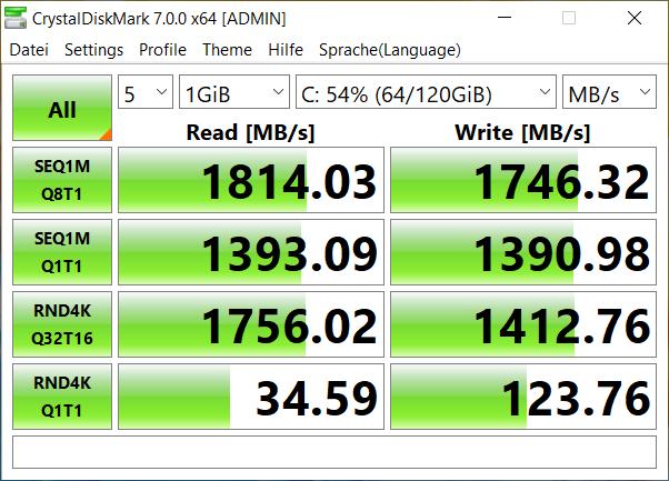 Resultados del benchmark Diskmark del Honor MagicBook Pro