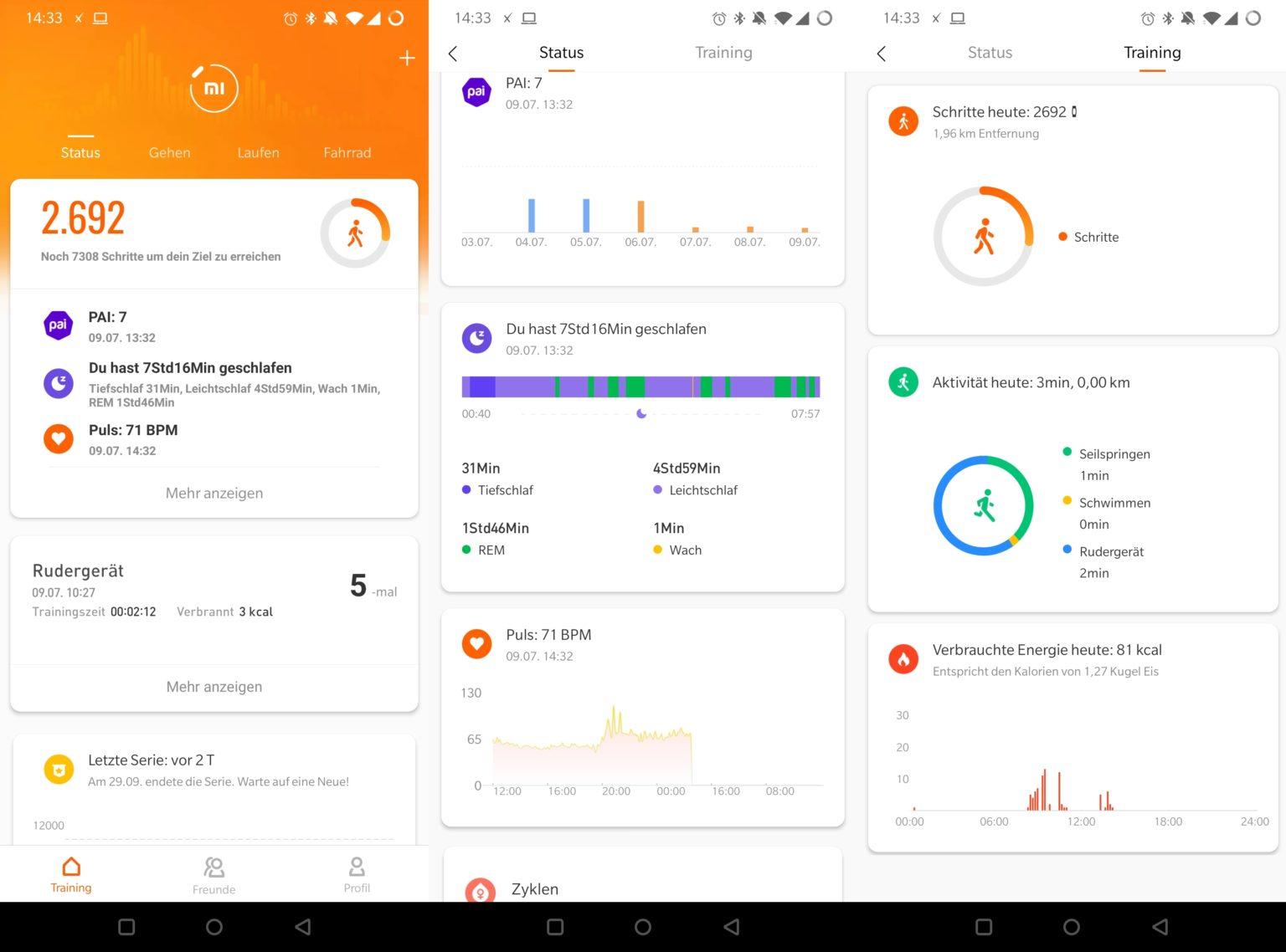 Datos recolectados con la Xiaomi Mi Band 5 en la aplicación Mi Fit