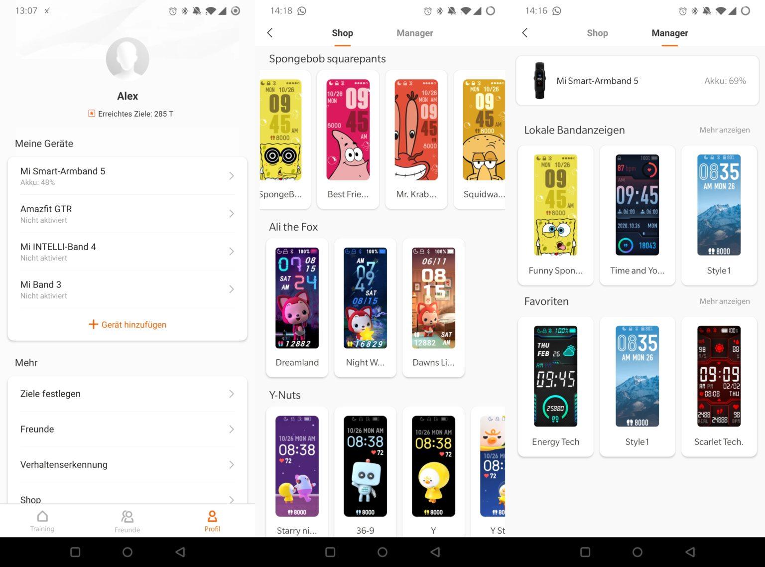 Perfil y tienda de Watchfaces para la Xiaomi mi Band 5 en la App Mi Fit