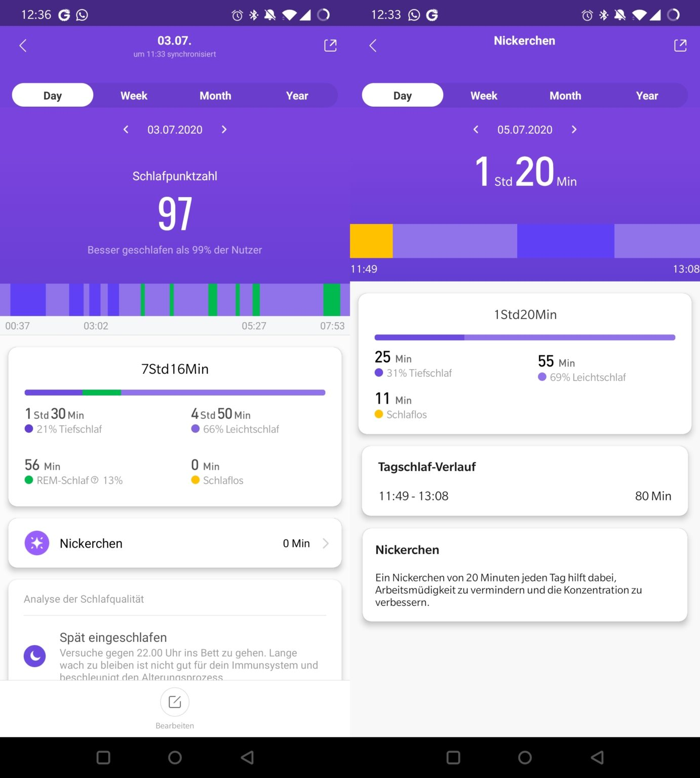 Monitorización del sueño durante 24 horas en Mi Fit con la Xiaomi Mi Band 5
