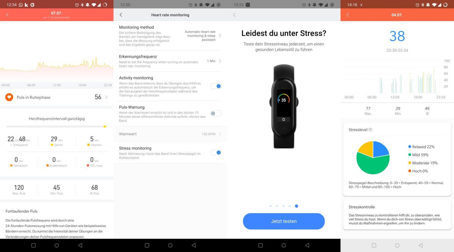 Datos de mi pulso y el estrés recogidos con Xiaomi Mi Band 5 en Mi Fit