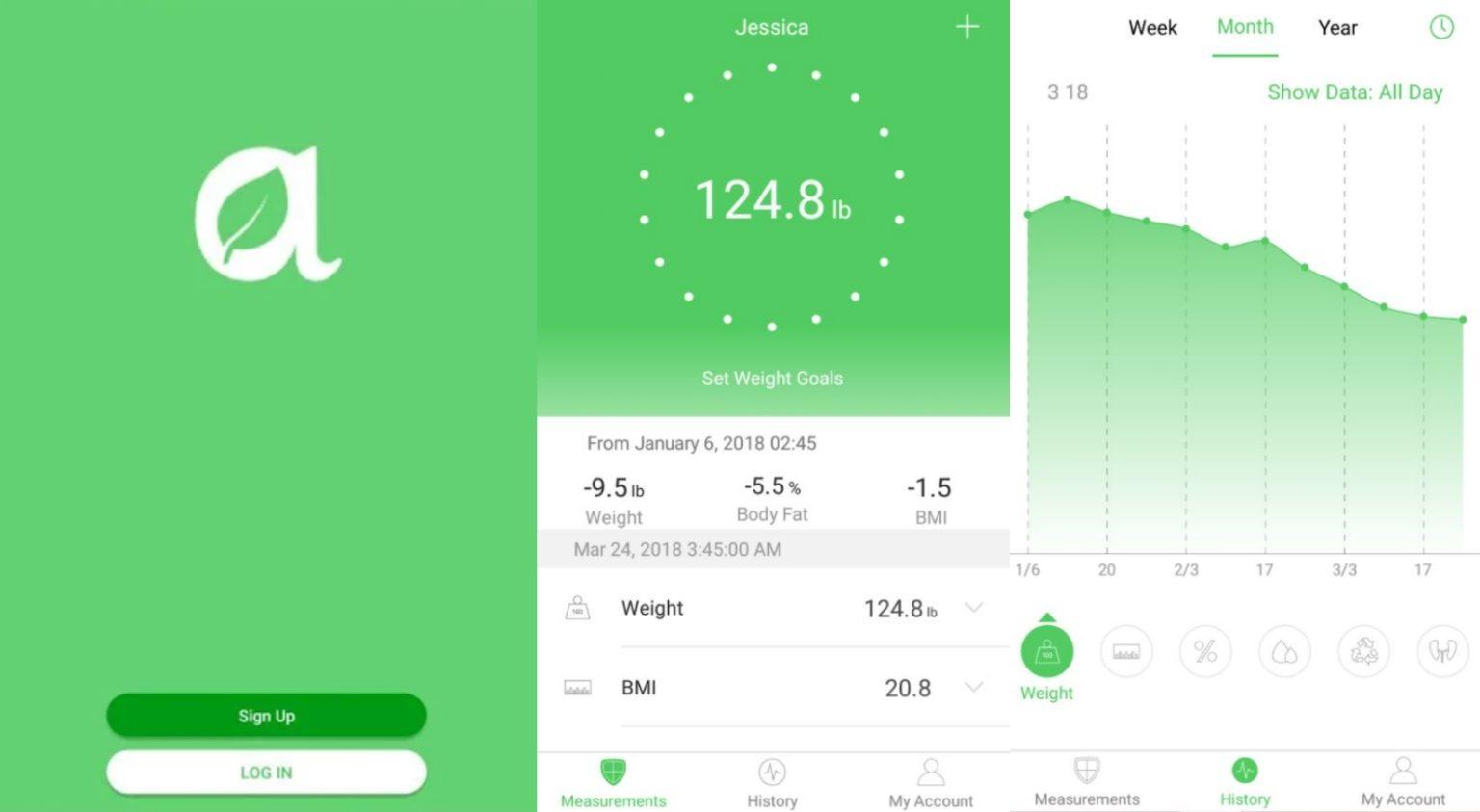 Capturas de pantalla de la aplicación de la báscula inteligente Arboleaf