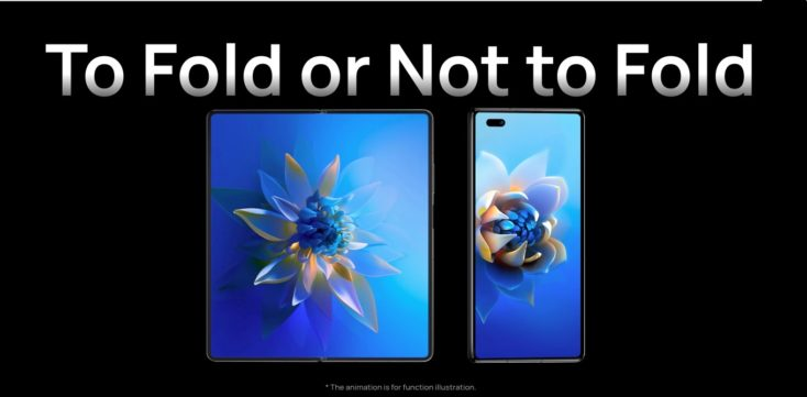 Dos pantallas del smartphone plegable Huawei Mate X2