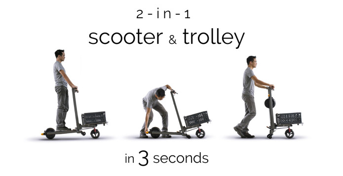 Patinete eléctrico Mimo C1 transformable en un carrito o trolley